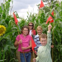 Family in maze in August